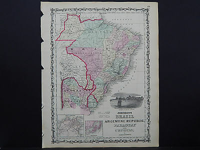 Antique Map Johnson's 1862, Single Page, Brazil, Argentina, Others M10#07