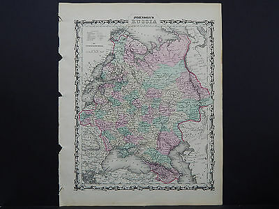 Antique Map Johnson's 1862, Single Page, Russia M10#09