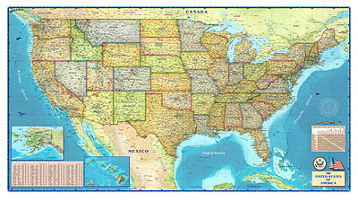 Wide World *United States* USA POLITICAL Wall Map (3 Sizes) ...Laminated