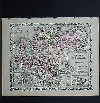 Antique Map Johnson's 1862, Single Page, Germany M10#10