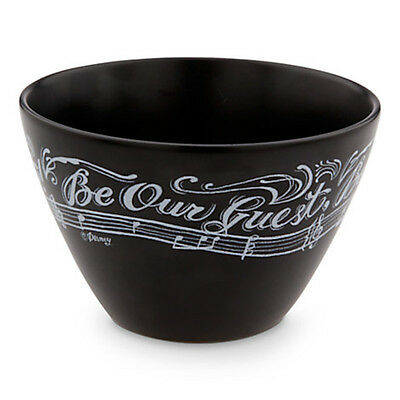 Disney Parks Chalkboard Be Our Guest Ceramic Bowl Black Lumiere New