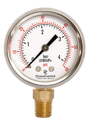 "2"" Oil Filled Pressure Gauge - SS/Br 1/4"" NPT Lower Mount 60PSI"