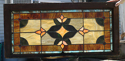 1920's Architectural Antique Victorian Jeweled Leaded Stained Glass Window Panel
