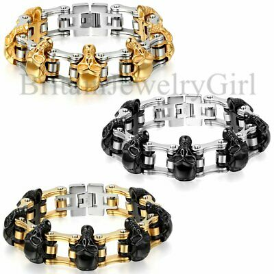 "9.1"" Heavy Gothic Skull Men Motor Biker Chain Stainless Steel Bracelet 16mm Wide"
