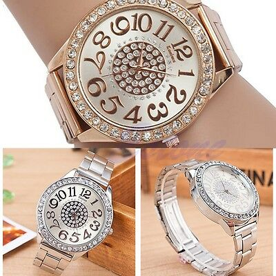 Fashion Crystal Analog Quartz Stainless Steel Band Women Bracelet Wrist Watch