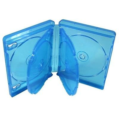 5 5x Bluray Blu-ray 22mm - Hold Holds 6 Discs - Clear Blue Case Cover