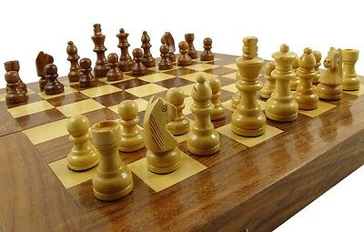 """Rose Wood Boxwood Staunton""""Chess Pieces Hand Crafted 32""""Chessmen Weighted Game"""