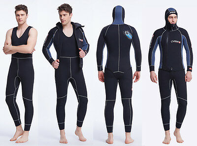 5mm Mens 2-Piece Sleeveless Wetsuit Hooded Diving Suit Watersports Surf Sailing