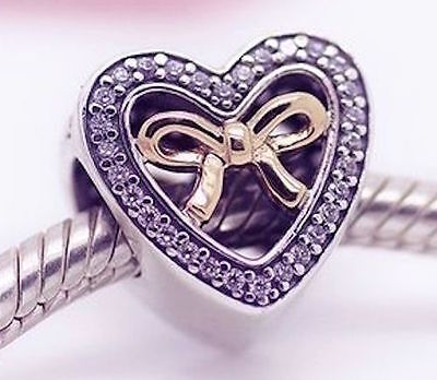GOLD HEART and BOW 925 Sterling Silver Solid Charm Bead for Bracelet