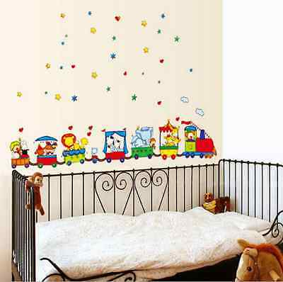 Cartoon Animal Circus Train Wall Sticker for Nursery Room |  Baby Children Decal