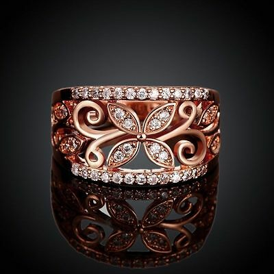 Fashion Women 18k Rose Gold Plated Crystal CZ Zircon Clover Flower Wedding Ring