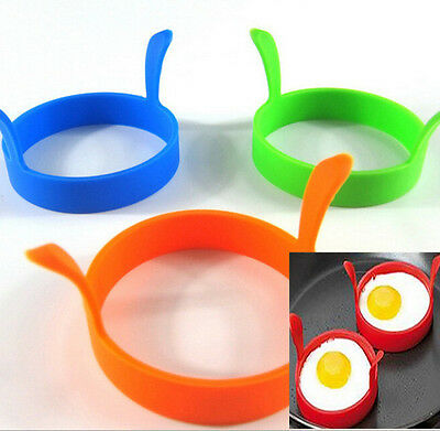 2X Silicone Fried Oven Poacher Pancake Egg Ring Mould Sharper KitchenTool Cooker