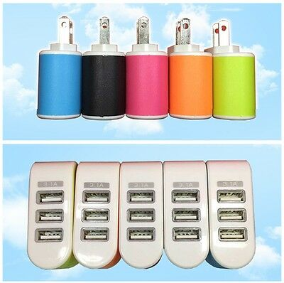 Lovely Triple USB Ports Wall Travel AC Charger Adapter EU/US Plug Multi Color CA