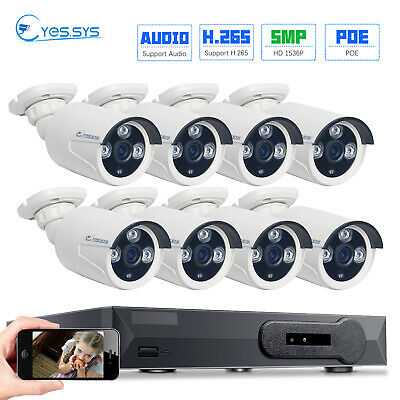 8CH Network POE NVR + 6pcs 2MP1080P HD CCTV IP DOME IR Camera SYSTEM FREE CABLE