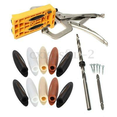 Stainless Steel Pocket Hole Drill Guide Jig Set Kit Wood Woodworking Useful Tool