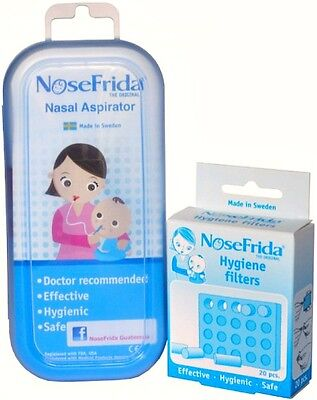 NEW Nosefrida Nasal Aspirator Baby Snot Sucker Blocked Nose Toddler 20 Filters