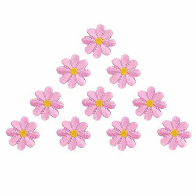 10pcs Embroidered Applique Flower Patches Sewing Craft Decoration Pink N3