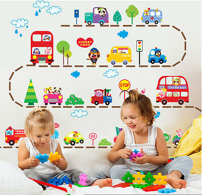 Colorful Cartoon Animal Car Truck Bus Wall Sticker for Kid Room | Nursery Decor