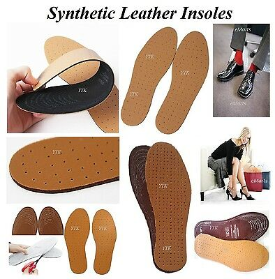 4 Pairs Leather Insoles Cut-To-Size Unisex Shoe Leather Insole Ultra Comfort New