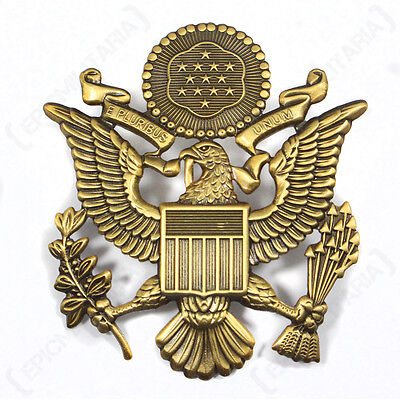 US Army OFFICER VISOR CAP BADGE - Antique Style - WW2 Peaked Hat Screw Pin Patch
