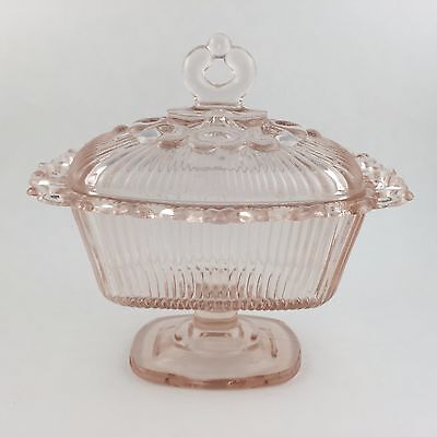 Indiana Glass Lace Edge Footed Candy Box Vintage Ribbed Pedestal Lid Oblong Pink