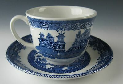 Wood and Sons China BLUE WILLOW Cup and Saucer Set(s) EXCELLENT