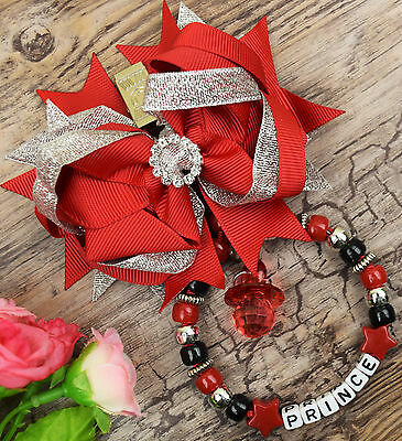Personalised stunning pram charm in red and silver baby girls boys