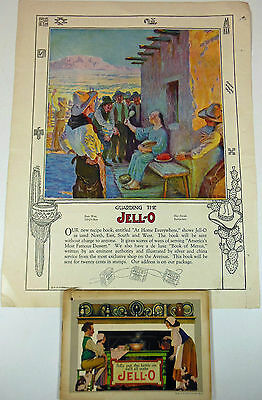 Jell-O Promotional Cookbook, Maxfield Parrish Covers, 1920s W/ Magazine Page