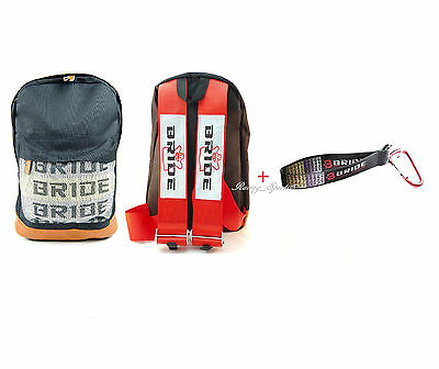 JDM Bride Racing Backpack W/Racing Harness Shoulder Red straps + Bride Key chain