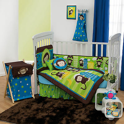 NEW Brown Green Monkeys Baby Boy Crib Bedding Nursery Set