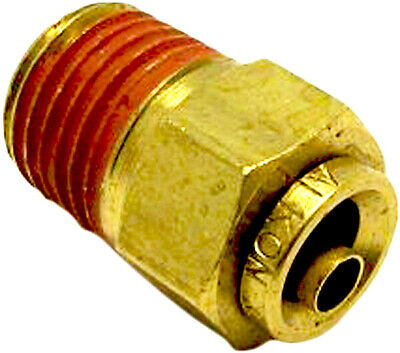 Push In To Connect Brass Air Male Fitting Straight Connector 1/4 OD x 1/4 NPT