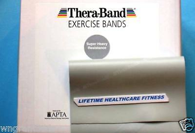 5 foot 1.5 meters Super Heavy Silver Fitness Thera-band power band pecs abs pro