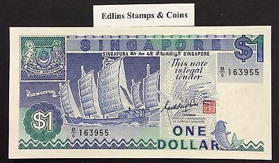 1987 $1 Singapore Banknote - Uncirculated - Pick 18A - B/6 163955