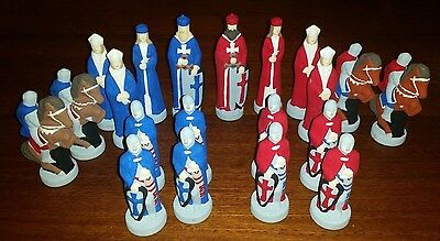 22 Ceramic Hand Painted Chess Pieces Bisque Arnel Gothic