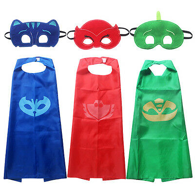 Superhero Paw Patrol  PJ Masks Cape Mask Set  Cosplay Kids Costume Party