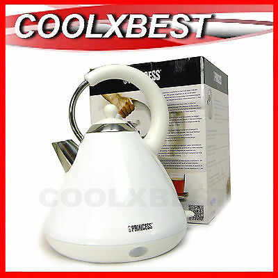 NEW PRINCESS 1.7L HERITAGE WHITE STAINLESS STEEL CORDLESS ELECTRIC KETTLE 2400w