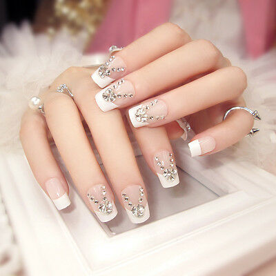 New 24PCS Pre-design Party Wedding French Style False Fake Nails Stickers N563