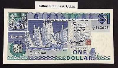 1987 $1 Singapore Banknote - Uncirculated - Pick 18A - B/6 163948