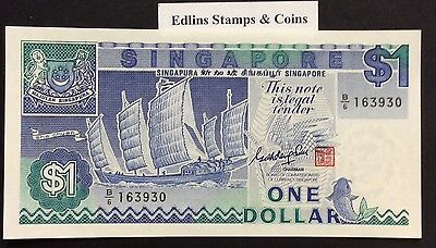 1987 $1 Singapore Banknote - Uncirculated - Pick 18A - B/6 163930