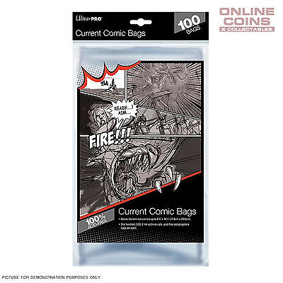 Ultra Pro Comic Series Acid Free Ultra Clear Current Size Comic Bags x 100
