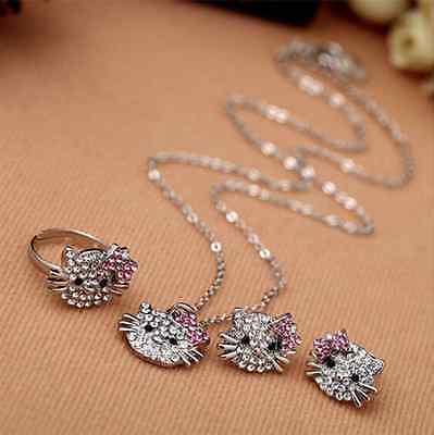 Hello Kitty Jewellery Set Crystal Diamante Sparkly Earrings Necklace Ring Cat Uk