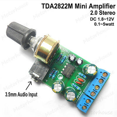 TDA2822M 2.0 Channel Stereo DC1.8V~12V 3V 5V 0.1W~5W Audio Power Amplifier Board