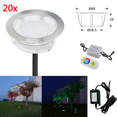 20Pcs/Set 80mm 2W 12V RGB Colour Changing Deck lights Patio Outdoor Stairs Lamp