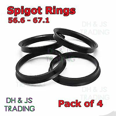 4x Spigot Rings 56.6 - 67.1 Wheel Hub Center Ring Vauxhall 4 Stud Fiat Punto x 4