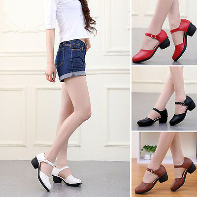 Dance Shoes Women Comfy Buckle Mary Janes Modern Ballroom Jazz Close Toe Pumps