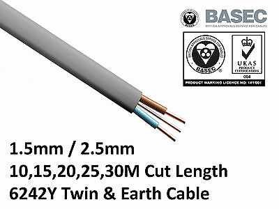 Twin and Earth 6242Y Cable 2.5mm & 1.5mm Electrical Domestic Wiring Home