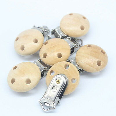 3PCs Natural Color Baby Pacifier Clips Round Wood Metal Holders NEW114