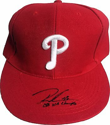 Lot Of 3 Phillies Signed Hats Mlb Fitted Inscribed 08 Champs Dutch Lot