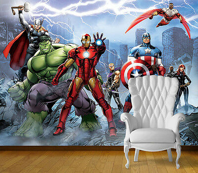 Avengers Super Hero Wall Art Wall Mural Any Size Self Adhesive Vinyl Decal V10