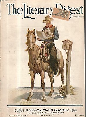 1920 Literary Digest Cover April 24 - Cowboy at the mail box